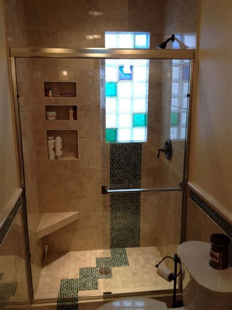 Glass Block Bathroom Ideas glass tile and marble shower with colored and frosted glass blocks