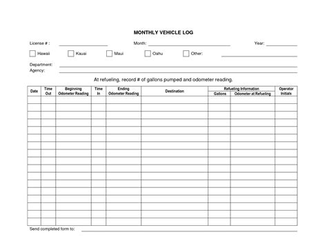 monthly maintenance service log book template for vehicle