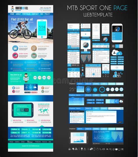One Page Sport Website Flat Ui Design Template Stock Vector Image 42362630 Website Ui Design Templates