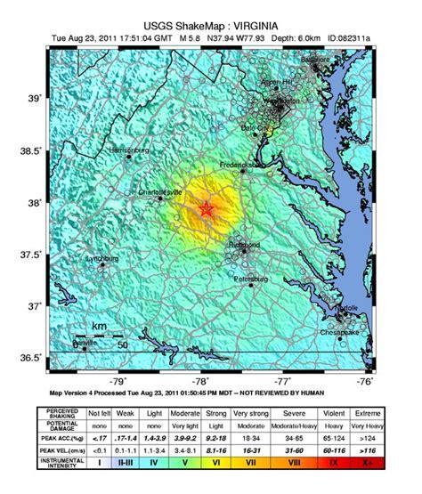 earthquake today map earthquake maps today s virginia earthquake planetsave
