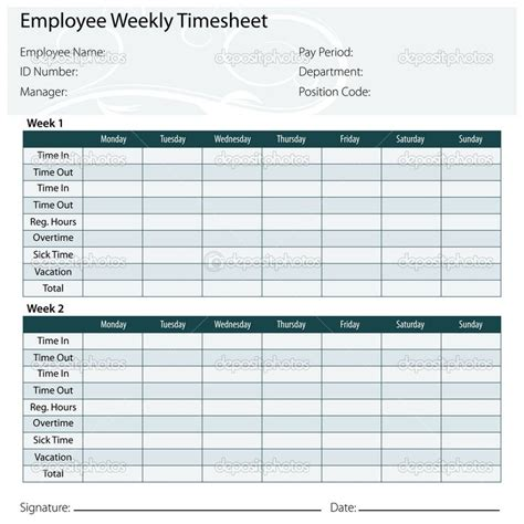 two week time card template time card excel template free templates free and themes