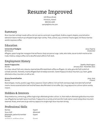 Standard Resume Sle Of Resume Ingyenoltoztetosjatekok