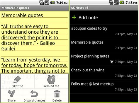 best notepad app for android best notepad app in android market for samsung galaxy y
