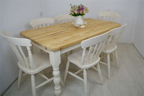 Beech Kitchen Table Pine Farmhouse Table And 6 Beech Slat Back Chairs Painted Vintage Antique Farmhouse Furniture