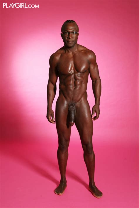 Nude Black Man With Shaved Head Oiled Body And Long Dick Poses For Women