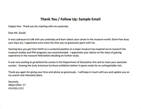 Thank You Note For Informational Sle Thank You Note After 7 Documents In Pdf Word
