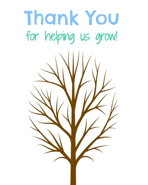 Thank You Card Template With Tree by Fingerprint Tree Gift The Country Chic Cottage