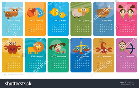 Zodiac Calendar Signs Creative Calendar 2017 With Horoscope Signs Zodiac