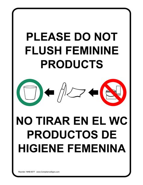 do not flush signs for bathroom do not flush feminine products bilingual sign nhb 9577
