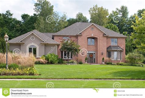 Ranch House Designs red brick amp tan stucco home stock photo image 33541248