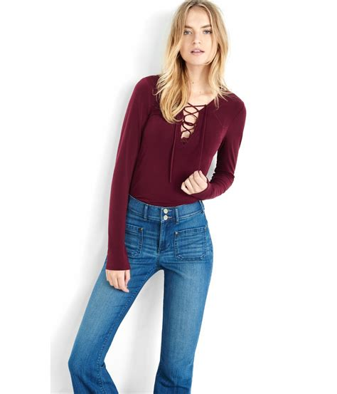 Up Front lyst express sleeve lace up front shirt in purple
