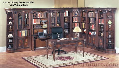 Corner Library Bookcase House Huntington Corner Library Bookcase Wall With Writing Desk