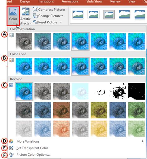change image color changing color of pictures in powerpoint 2016 for windows