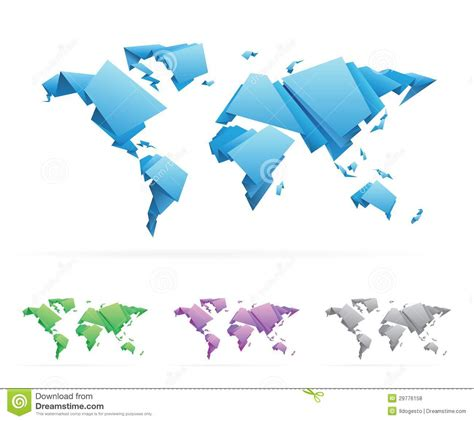 Origami World - origami style vector world map stock vector image 29776158