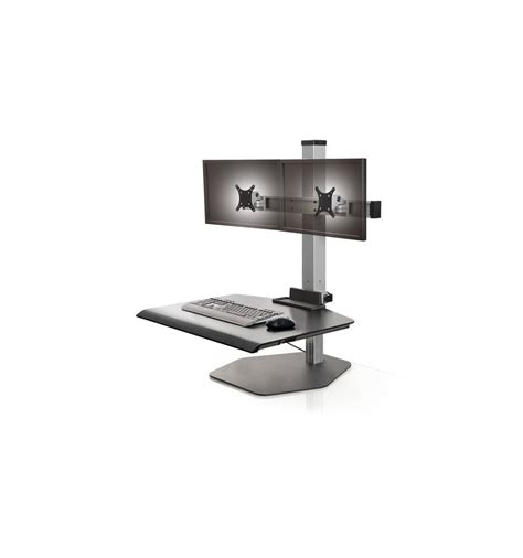 Stand Up Dual Monitor Station Dual Freestanding Sit Stand Stand Up Desk Solutions
