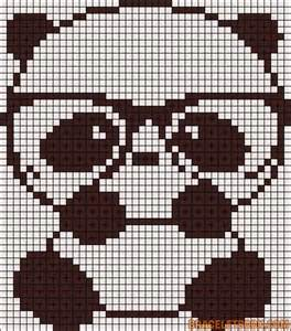 alpha pattern nerd panda bear chart for cross stitch