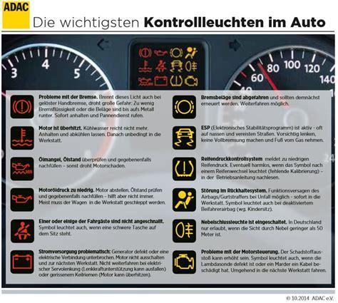 Kontrollleuchten Auto Vw Golf 6 by Das Bedeuten Die Kontrollleuchten Im Auto