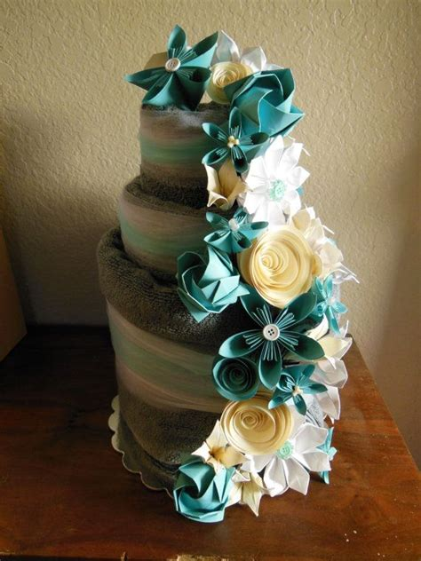 Towel Origami Flower - wedding towel cake with origami flowers