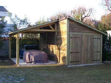 abri de jardin garage garage anjou avec appentis 3 m x 5 50 m en bois gamme cerisiercerisier abris de jardin en bois