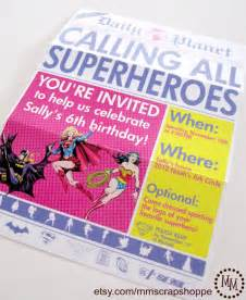 Tri Fold Invitation Template Girls Superhero Newspaper Custom Printable By Mmscrapshoppe