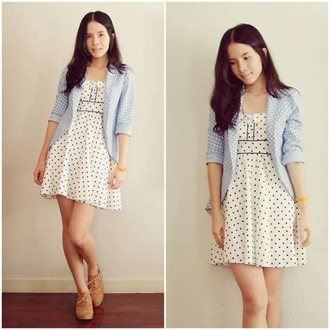 Dress Polkadot Bangkok kapongpeang k polka dot dress polka dot blazer oxford