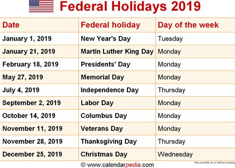 Calendar 2019 India With Holidays Federal Holidays 2019