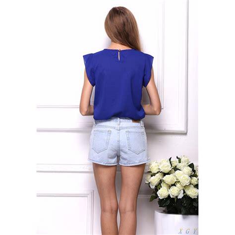 Blouse Gradasi Blouse Wanita Pakaian Wanita blouse wanita chiffon size m blue
