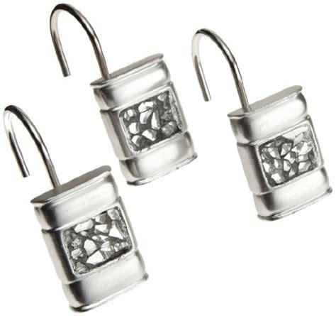 sinatra silver bathroom set popular bath sinatra silver shower curtain hooks set of