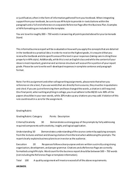 lemonade stand business plan template busn115 week 5 lemonade stand part ii