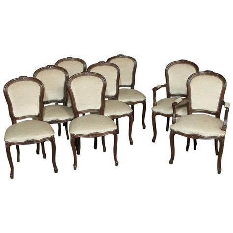 Set Of Eight French Walnut White Mohair Louis Xv Dining Louis Xv Dining Chairs