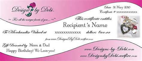 designs by debi handmade jewelry gift certificates
