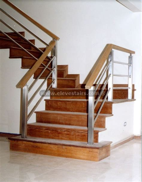 wood stair banisters metal and wood railings contemporary stainless steel