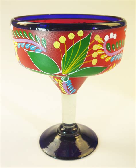 Decorated Margarita Glasses by Mexican Margarita Glass 15oz Painted Pop Designs