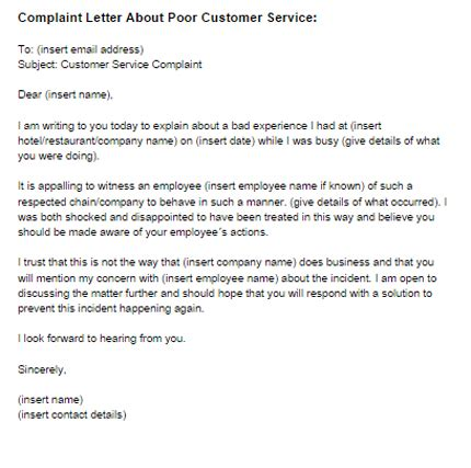 how to write a complaint letter for bad customer service