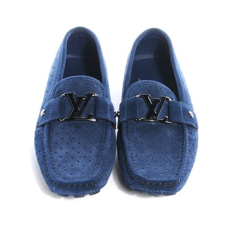 louis vuitton blue suede loafers louis vuitton perforated suede monte carlo mens loafers