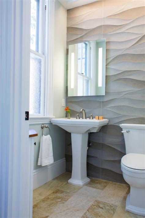 where to put soap on pedestal sink neutral transitional powder room with wavy accent