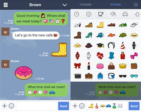 chat on android chat app line launches sticons on android