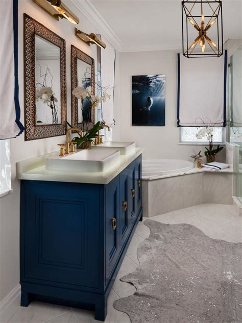 Navy Bathroom Vanity Illuminating Ideas For Beautiful Bathroom Lighting Hgtv