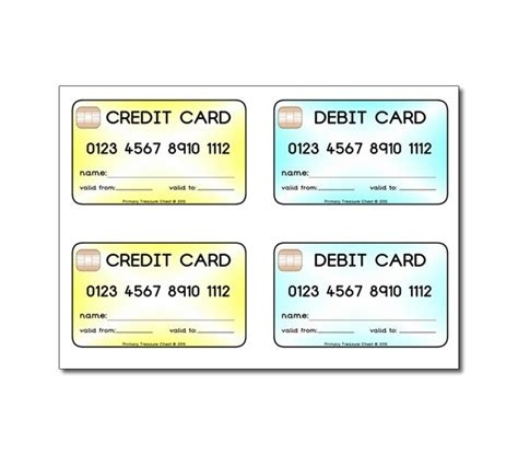 classroom visa credit card template printable play credit cards debit cards primary treasure chest