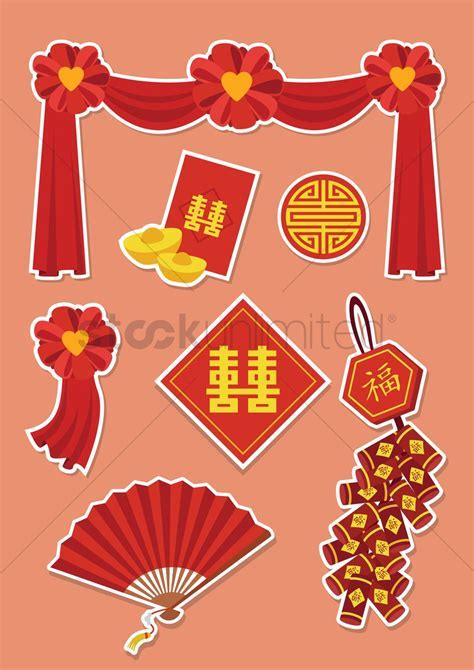 Chinese wedding decorations Vector Image   1244215