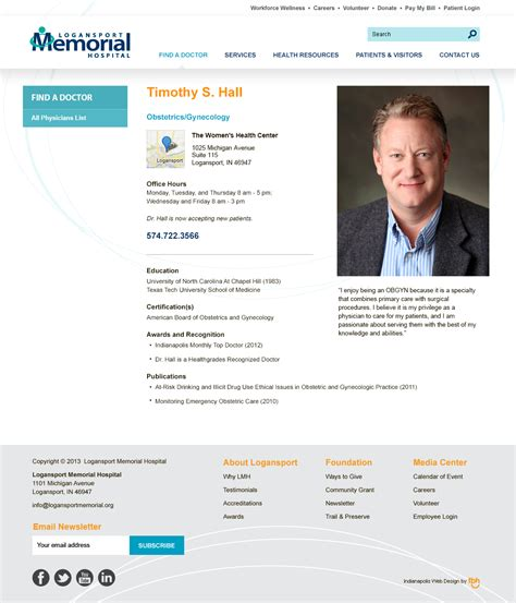 Physician Bio Template Website Redesign Strategy Logansport Memorial Hospital Indianapolis Web Design