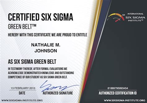 green belt certificate template exle certified six sigma certification test questions