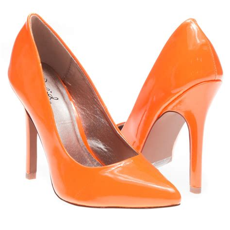 High Heels Us neon orange patent leather pointy toe stiletto high heel pumps classic us 5 10 ebay