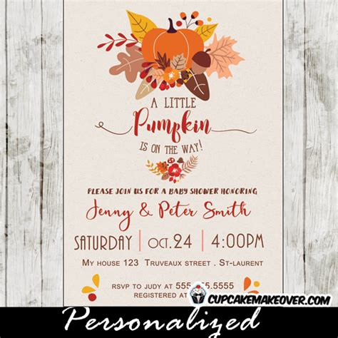 Themed Baby Shower Invitations by Fall Themed Pumpkin Baby Shower Invitations Personalized