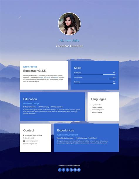 bootstrap profile layout easy profile is one page bootstrap v3 3 5 layout fade in
