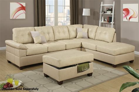 Sectional Furniture by Poundex Reese F7520 Beige Leather Sectional Sofa A