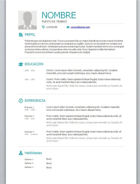 Plantillas De Curriculum Vitae Usados En Chile Foto Curriculum 3 Trabajemos