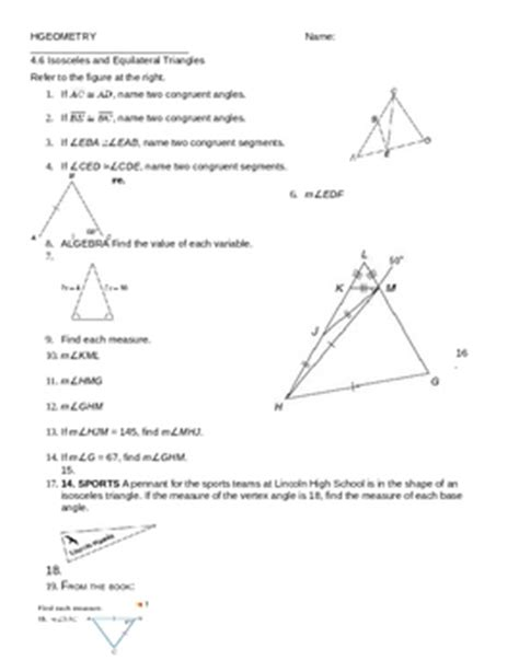 Isosceles And Equilateral Triangles Worksheet by 4 6 Isosceles And Equilateral Triangles Ws By Mrs V Tpt