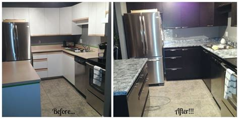 before and after using giani granite countertop paint and
