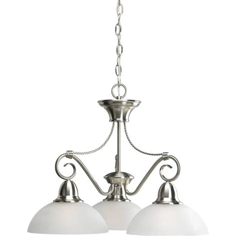 Progress Lighting Pavilion Collection Brushed Nickel 3 Chandelier Home